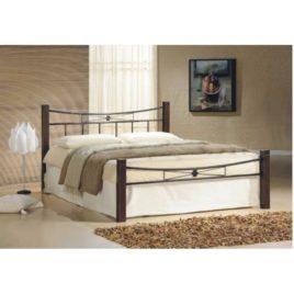 Kovová posteľ, drevo orech/čierny kov, 160×200, Paula