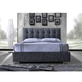 TEMPO KONDELA Manželská posteľ s roštom, 160×200, tmavosivá látka, RAGNAR